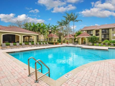 Cypress Shores apartment complex with pool