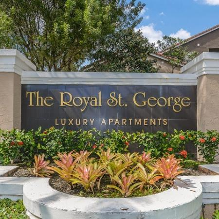 Entrance monument to Royal St George | Apartment rental community in West Palm Beach Florida