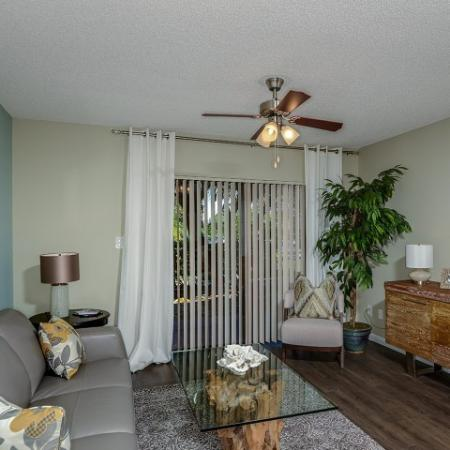 Apartment living room with hardwood floors | Village Place 1 bedroom apartment