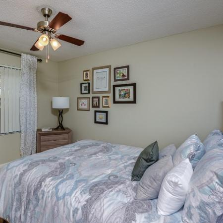 2 bedroom apartment | bedroom with ceiling fan | Village Place