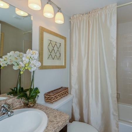 2 bedroom apartment bathroom with shower and tub combo