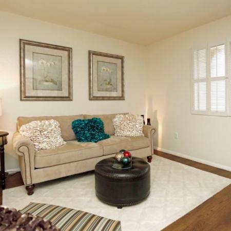 Living room with hardwood floors | Promontory apartments