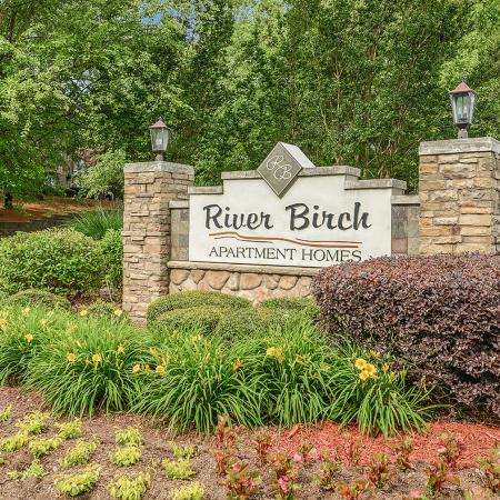 River Birch entrance monument for apartment homes in Charlotte