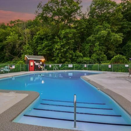 Twilight at the Tatnuck Arms apartment community pool