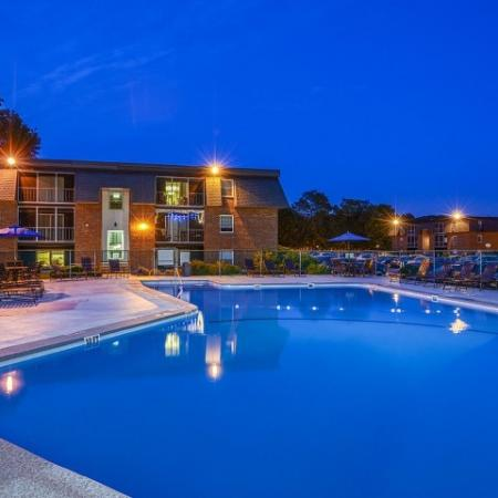 Nighttime at the apartment complex pool | Tatnuck Arms in Worester MA