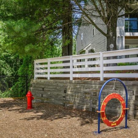 Dog park with agility equipment at pet-friendly Pavilions apartment community