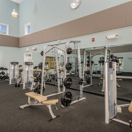 The Pavilions apartment gym with free weight equipment