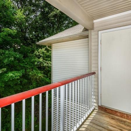 Private balcony with storage closet | Westborough apartment homes