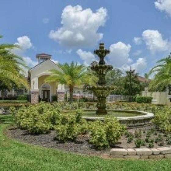 GrandeVille on Saxon, exterior, fountain, landscaping, buildings