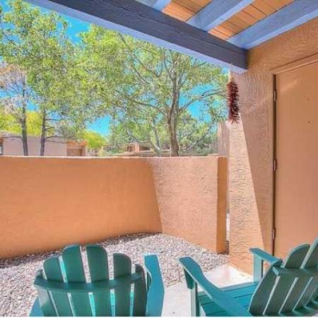Private patio with storage closet | Vizcaya apartments in Santa Fe
