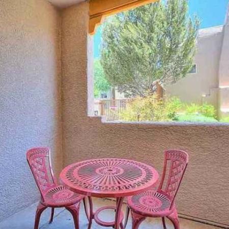 Private patio | Vizcaya apartments | Santa Fe, New Mexico