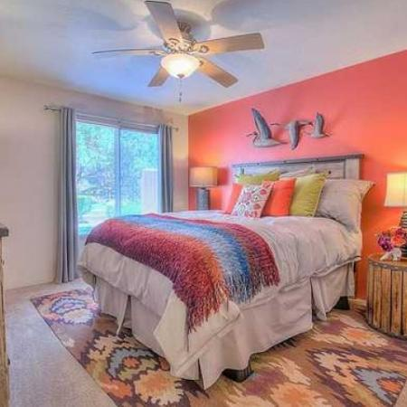 Bedroom in 2 bedroom apartment with large glass doors | Vizcaya rentals in Santa Fe
