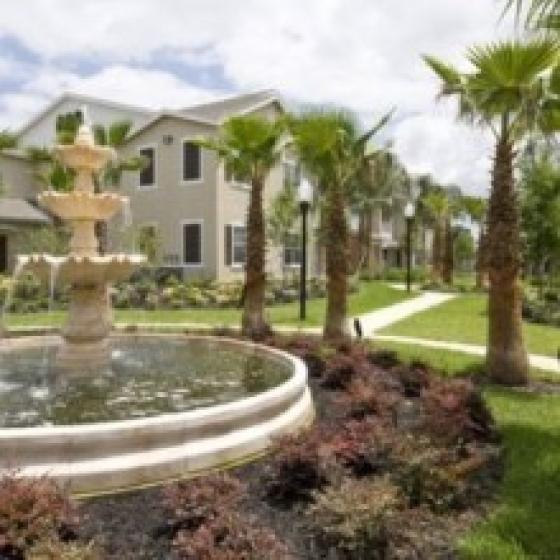 Estates at Heathbrook, exterior, fountain, trees, building