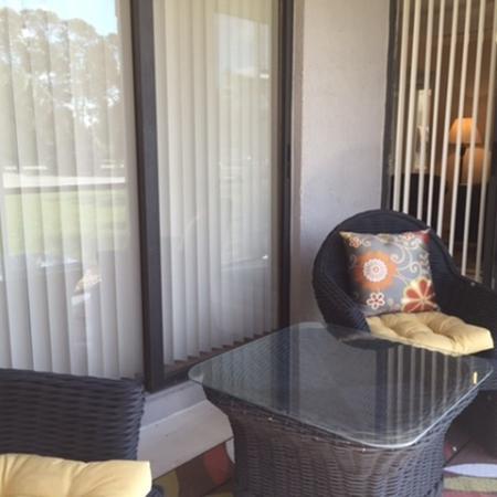 Apartment balcony and patios at Lakeside at Greenboro