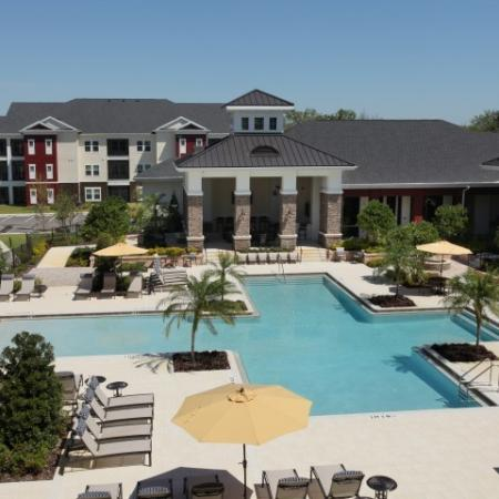 Aerial view of the Village at Terra Bella community pool | Land O' Lakes Florida