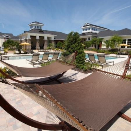 Poolside hammocks | Village at Terra Bella