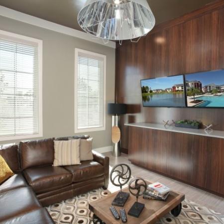 Resident clubhouse tv room | meeting areas | sitting areas | Village at Terra Bella
