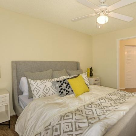 Bedroom with carpet and ceiling fan | apartment in Royal St George