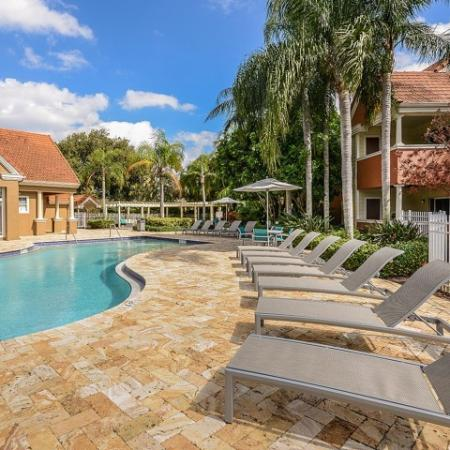 pool with lounge chairs and umbrellas | West Palm beach apartment complex