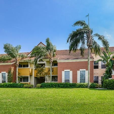 Exterior of Windward at the Villages apartment buildings in West Palm Beach FL