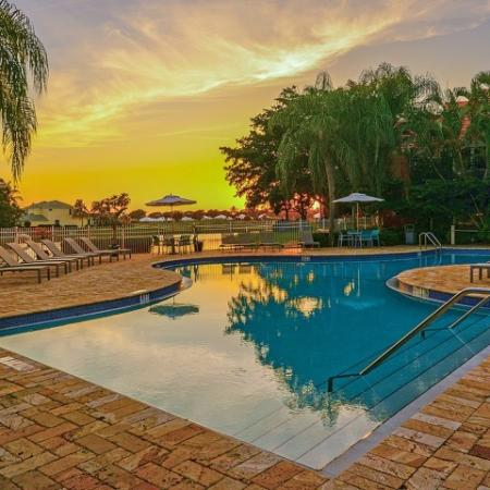 Twilight at the Windward at the Villages pool