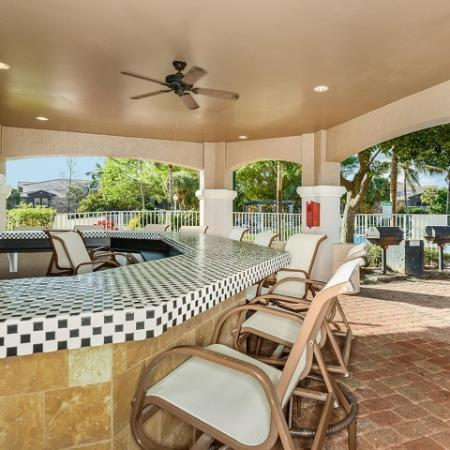 Poolside bar seating | Via Lugano rentals | Boynton Beach