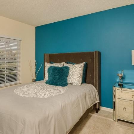Bedroom with carpeted flooring