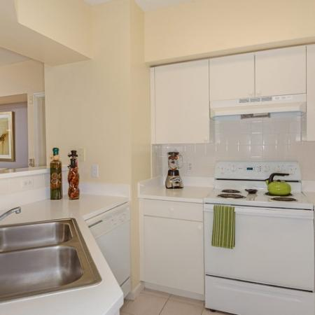Kitchen with white cabinets and white appliances