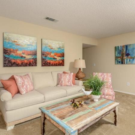 Living room of 2 bedroom apartment in The Brittany | rental homes in Indialantic Florida