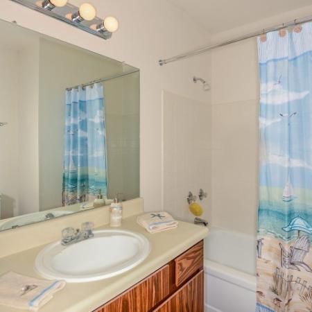 Bathroom with shower bathtub combo | The Brittany 2 bedroom apartments