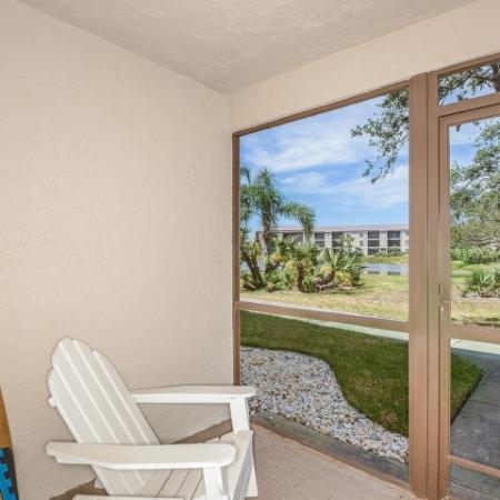 Screened in porch at The Brittany apartments | Indialantic FL rentals