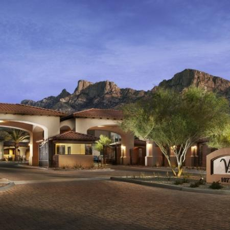 Nighttime view of Villas at San Dorado entrance | Tucson AZ apartment community