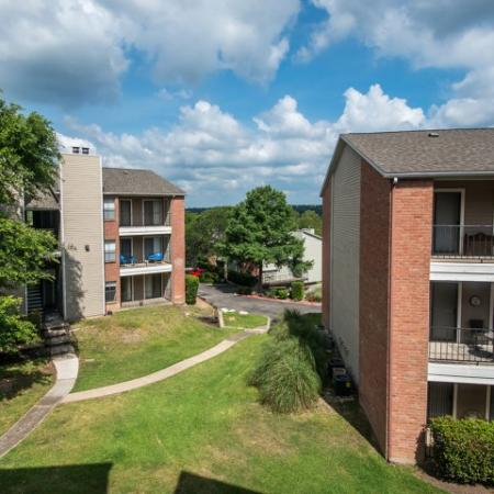Aerial of exterior of Village Oaks apartment buildings