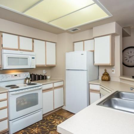 Kitchen with electric appliances and two basin sink | Sedona Springs
