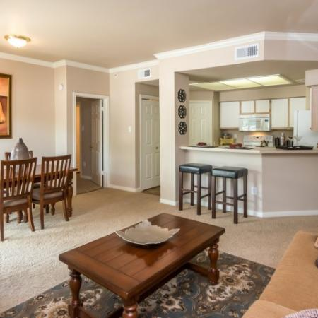 Living room and dining room in Sedona Springs 2 bedroom apartment