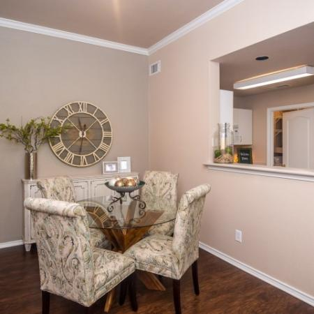 Dining room with hardwood flooring | River Stone Ranch apartments