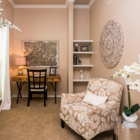 Nook with built-in shelves | River Stone Ranch 1 bedroom apartment | south Austin