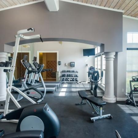 Apartment gym with cardio and weight equipment | River Stone Ranch