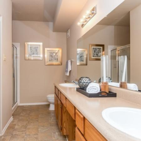 Master bath with dual vanity | Austin TX apartment homes