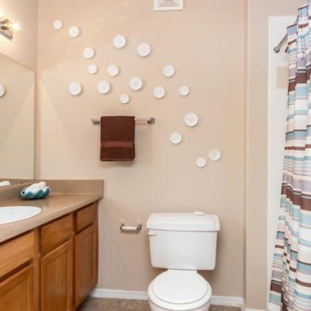Apartment bathroom   Madison at Scofield Farms   Austin TX