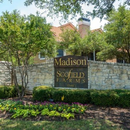Madison at Scofield Farms entrance | Austin TX apartments