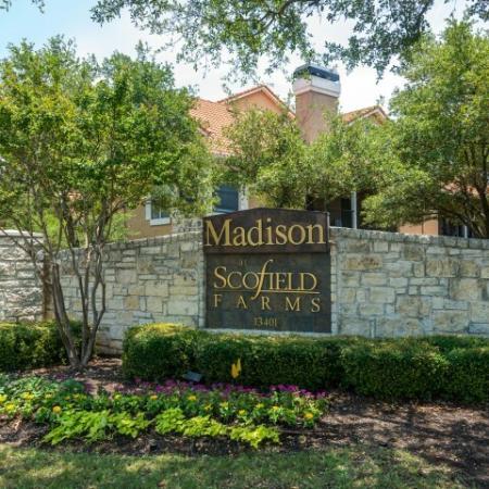 Madison at Scofield Farms entrance   Austin TX apartments