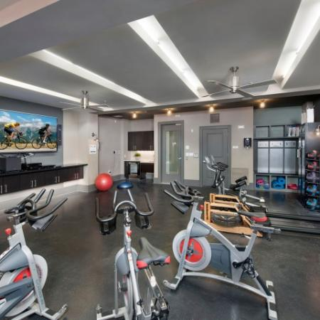 Fitness center spinning and aerobics room | The Rialto