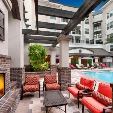 Poolside fireplace at the Rialto rental community in Orlando