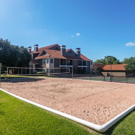 Sand volleyball court | Madison at Wells Branch | Austin apartments