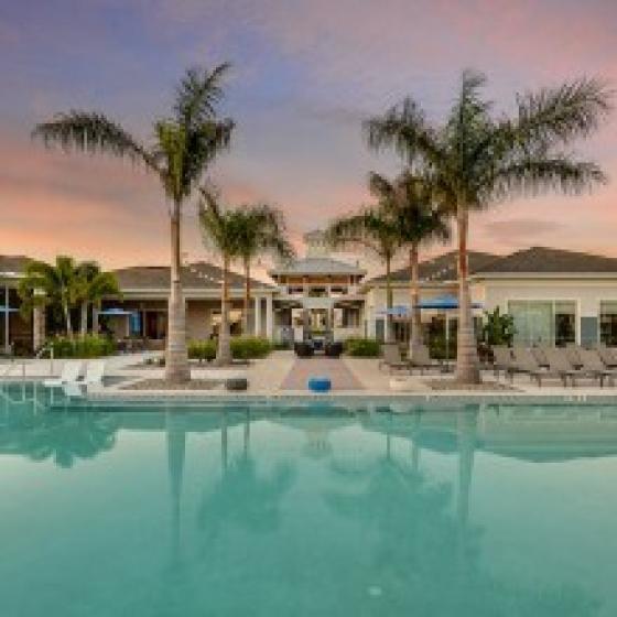 Echo Lake, exterior, sparkling blue pool, palm trees, building