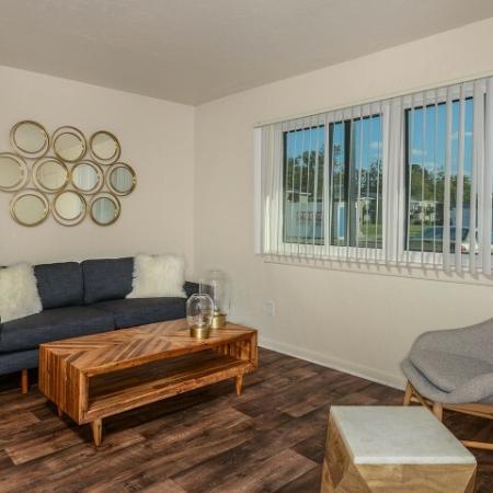 Wood flooring | Living room | Mission Grove apartments