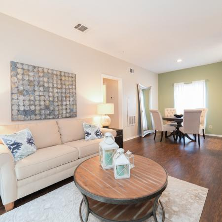 Open living room and dining room floor plan | Canyon Creek apartments