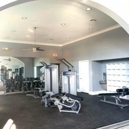 Fitness center weight equipment and free weights at Royal St George | West Palm Beach