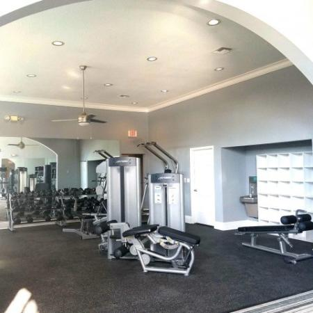 Fitness center with weight equipment and free weights | Windward at the Villages